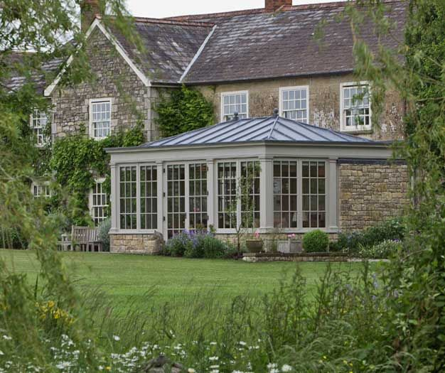 Traditional Conservatory With Leaded Roof Painted In Mud Pie From Vale S Paint Collection Garden Room Extensions Old Stone Houses House Extension Design