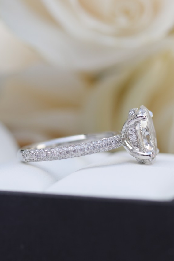 Oval Pave Manmade Diamond Wedding Ring Diamond Rings Bands Diamond Engagement Band Elegant Engagement Rings