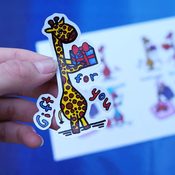 Funny giraffe stickers 4 pieces with different wishesgift for you love you good night bon appetit includes four4 stickers 4 stickers are located on