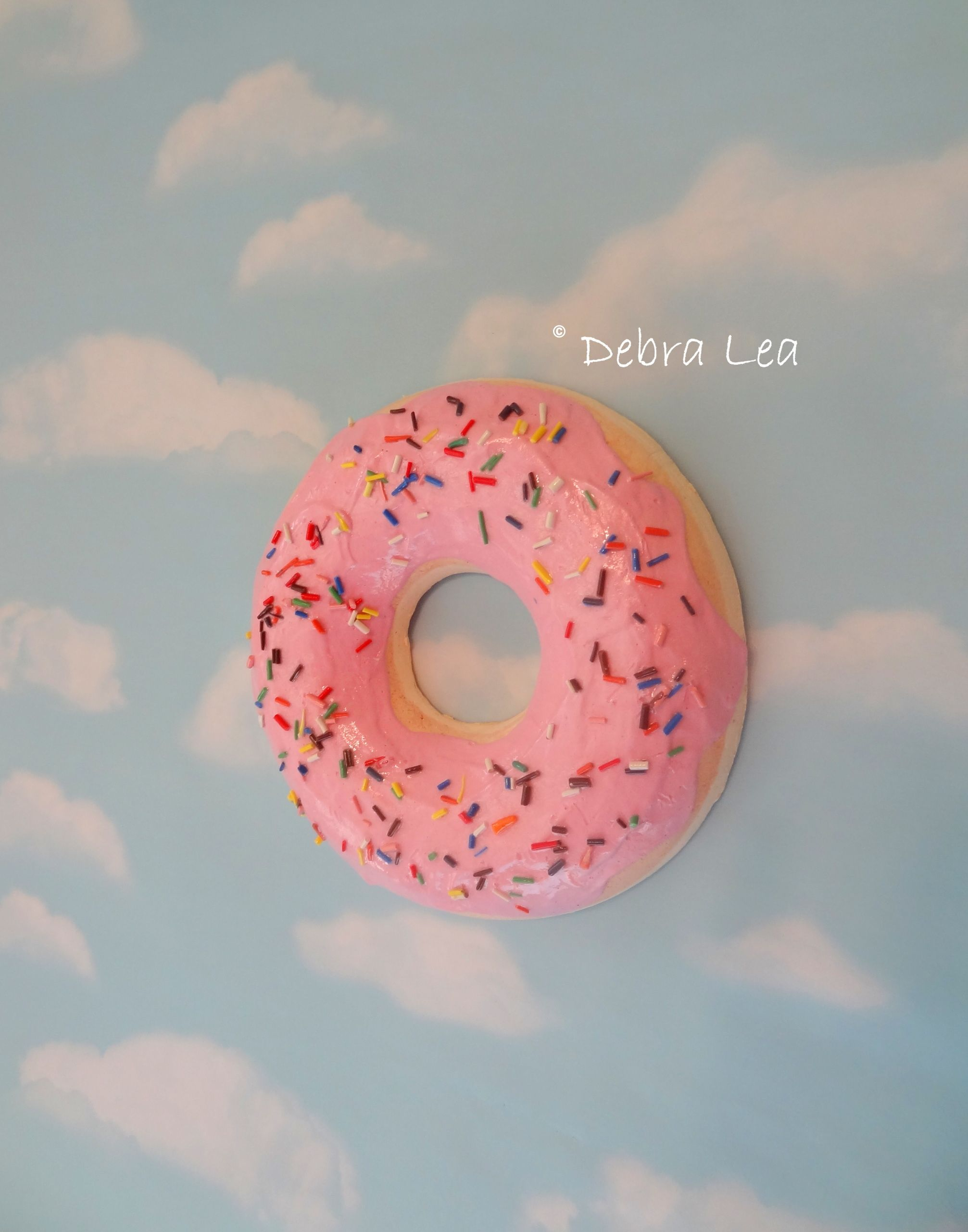 Giant Faux Donut Fake Doughnut Pastel Pink Frosting Sprinkles Wall