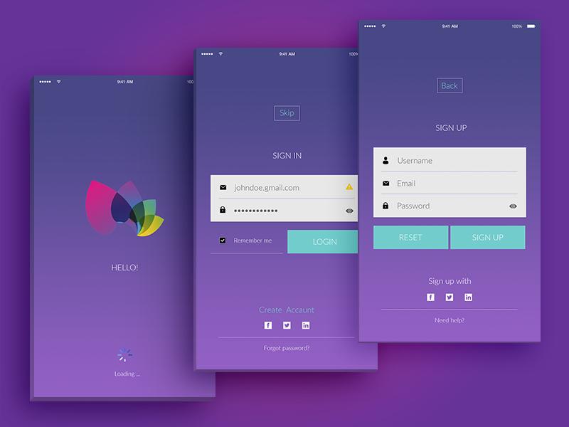 Login Register Screens Design App Login Registration Form App