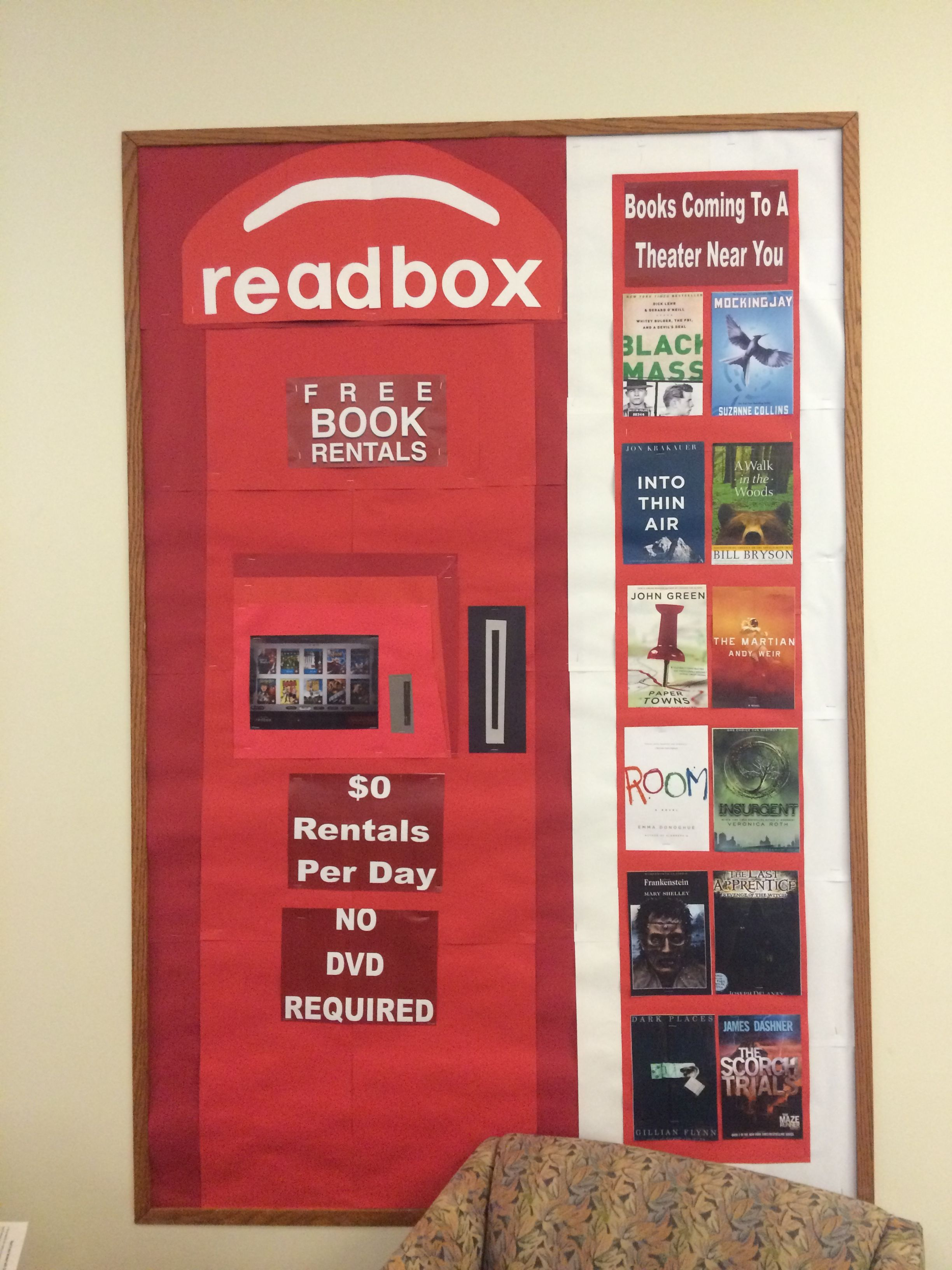 Redbox/Readbox Bulletin Board | Literacy bulletin boards ...