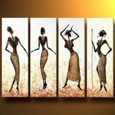 African Girls Dance In Gold Modern Canvas Art Wall Decor Abstract Oil Painting Wall Art With Stretched Frame Canvas Art Wall Decor African Paintings Africa Art
