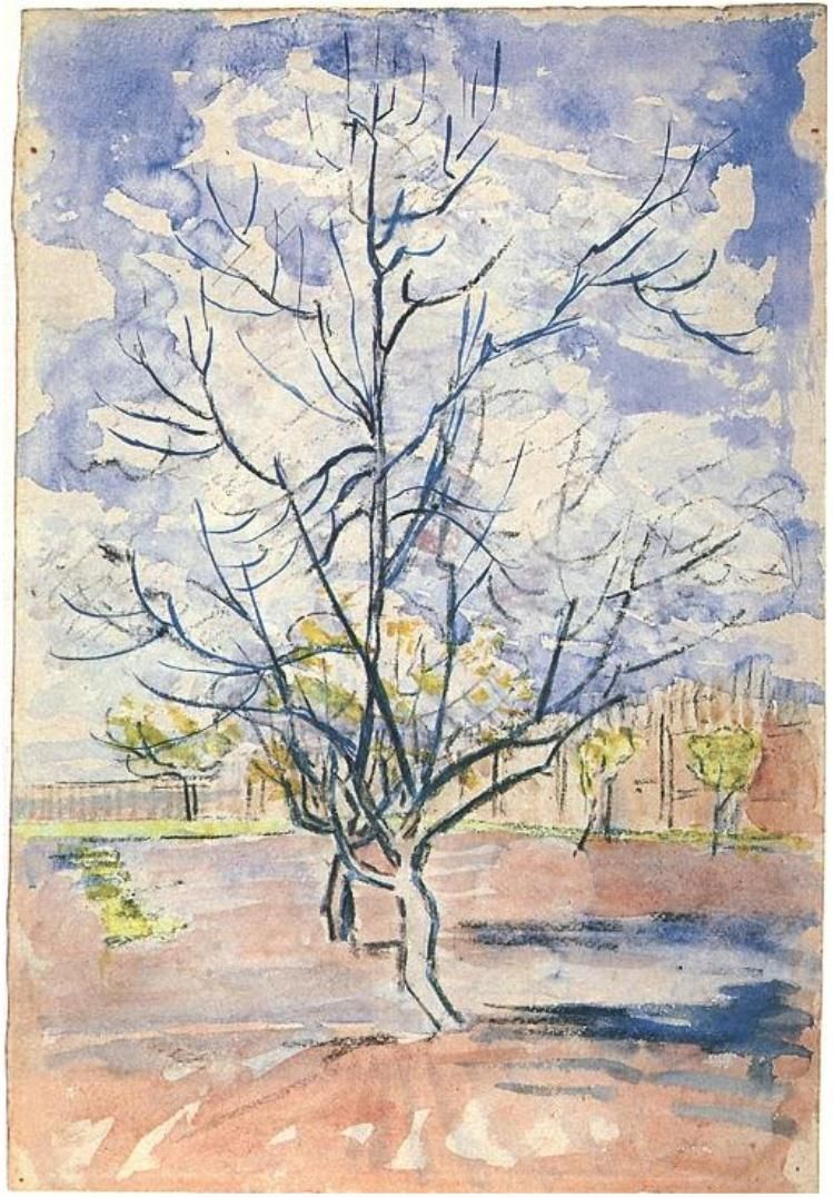 Pink Peach Trees Vincent Van Gogh Watercolor Charcoal