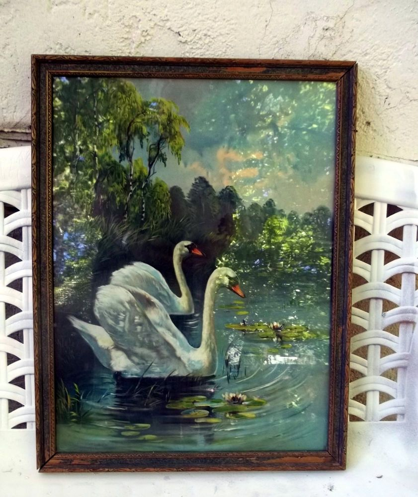 Antique Picture Print Wood Frame Swans Water Lillies Pond Trees 16