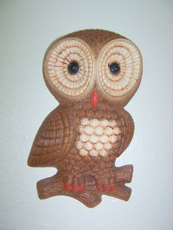$5 round head single owl perched on a branch - vintage 1970s wall decor