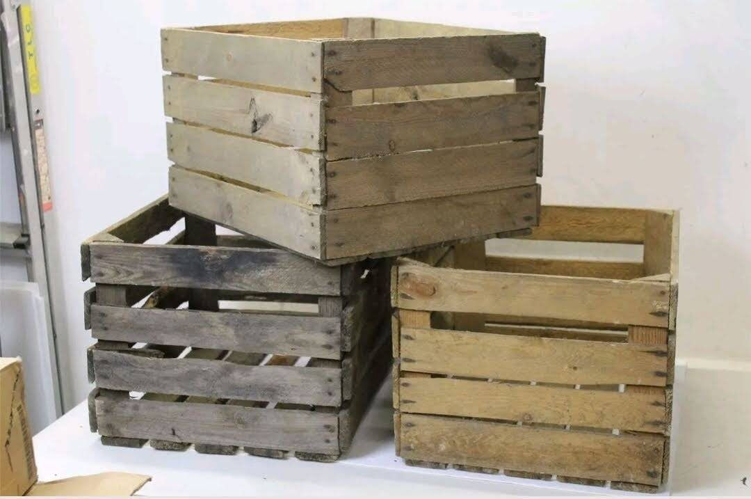 Vintage Wooden Apple Crate Rustic Wood Box Wedding Decor