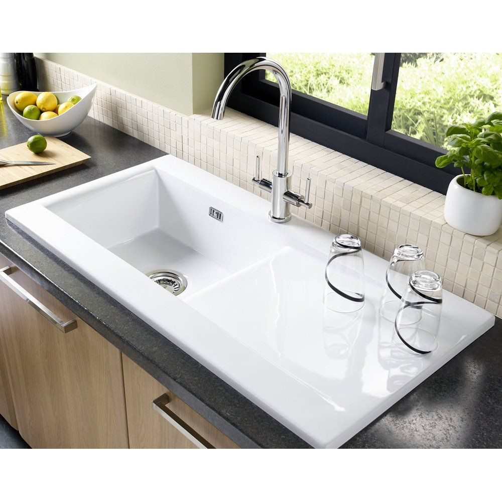 Astracast Liscio 1 0 Bowl White Ceramic Kitchen Sink Waste