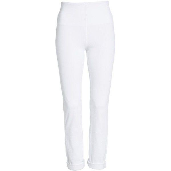 57c84fea21bbf Women's Lysse Boyfriend High Rise Denim Leggings ($59) ❤ liked on Polyvore  featuring pants, leggings, white, stretch denim leggings, high-waisted  jeggings, ...