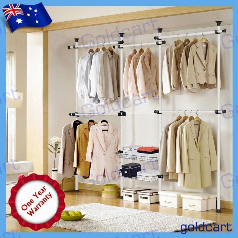 18 Classy Closet Storage Solutions For Your Clothes: Flexi Garment Rack DIY Coat Hanger Clothes Wardrobe Double