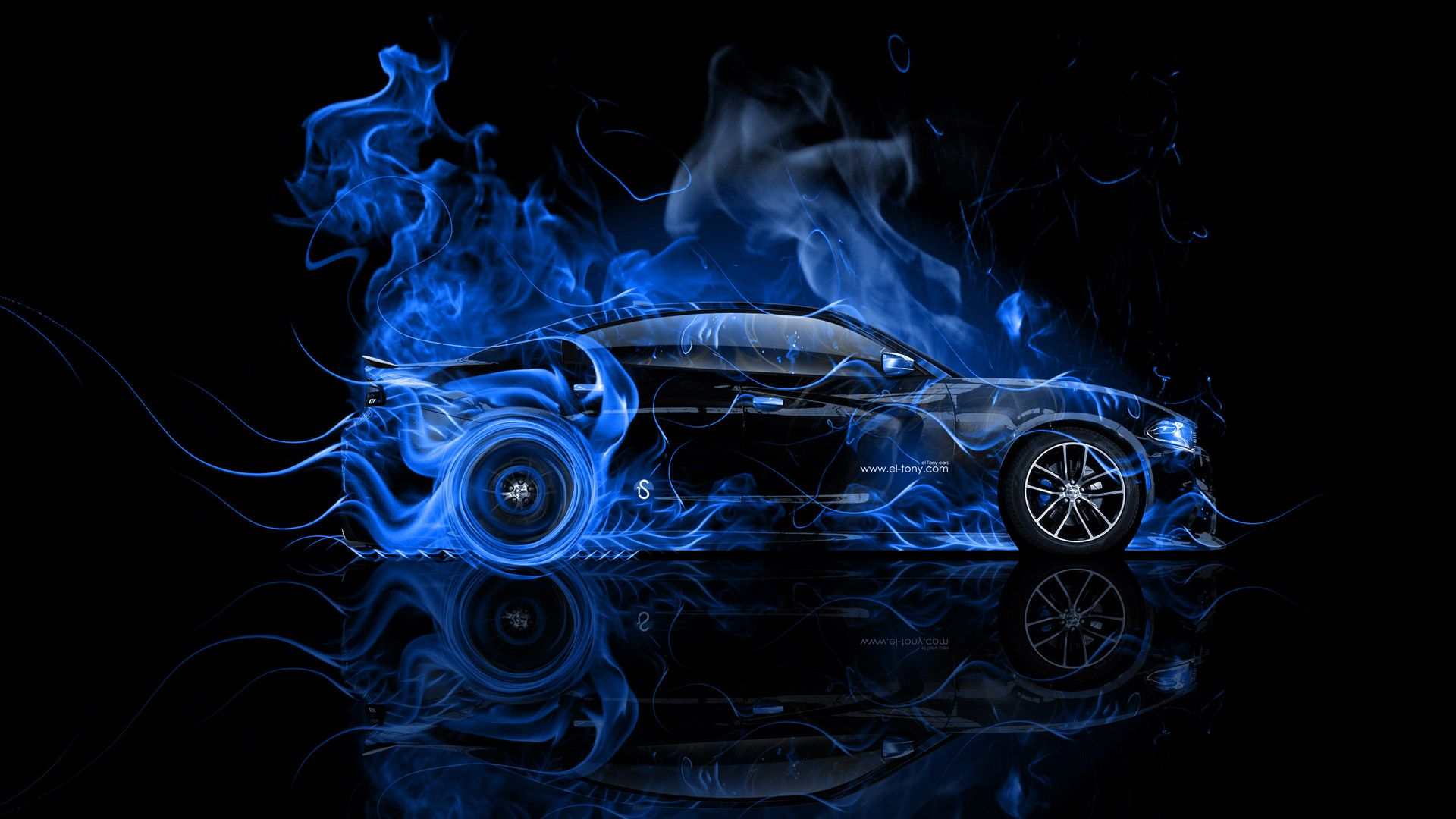 Dodge Charger RT Muscle Side Blue Fire Abstract