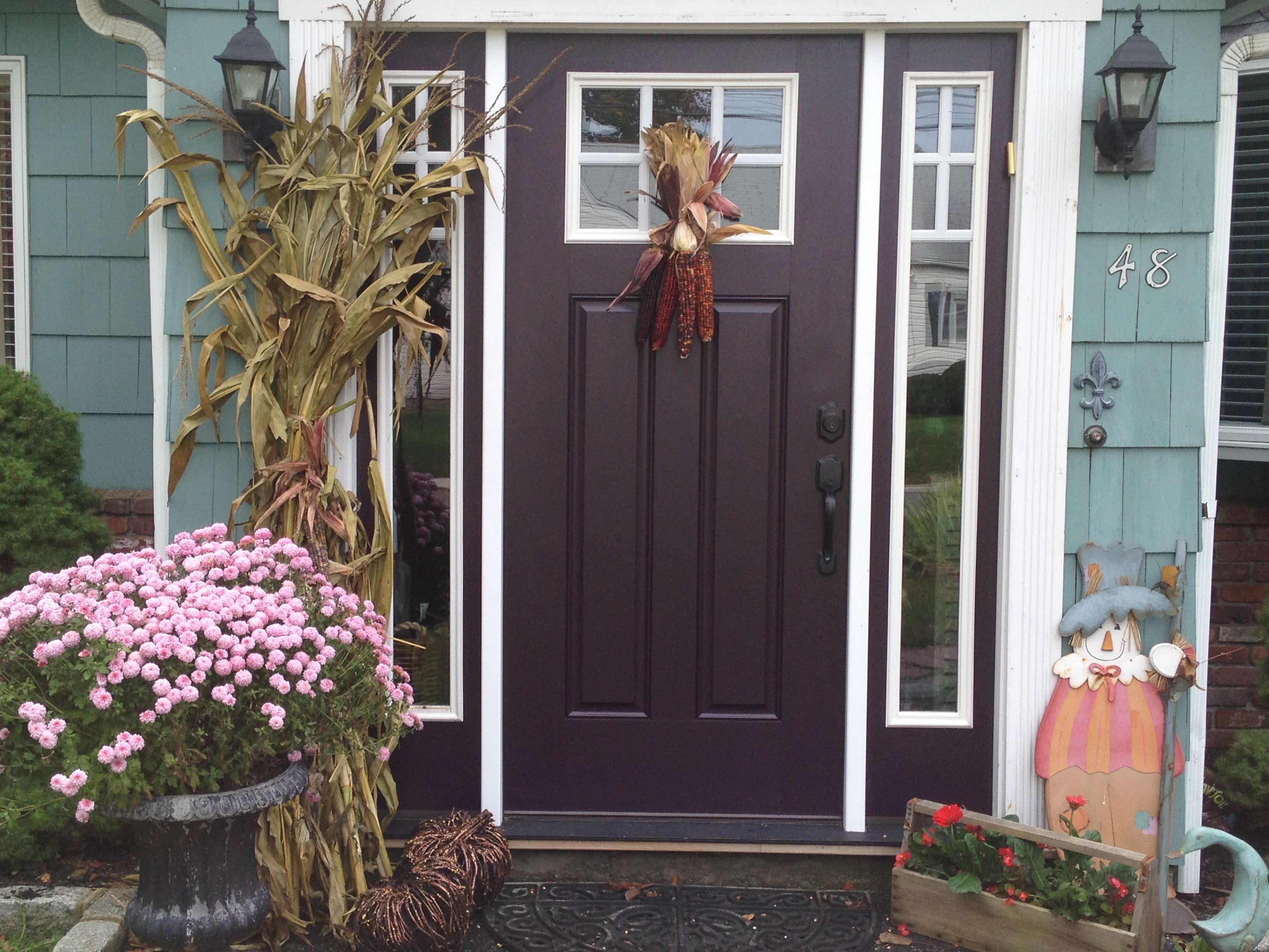 I Always Wanted An Eggplant Colored Front Door Finally Found The Perfect Auberg Exterior House Paint Color Combinations Painted Front Doors Purple Front Doors