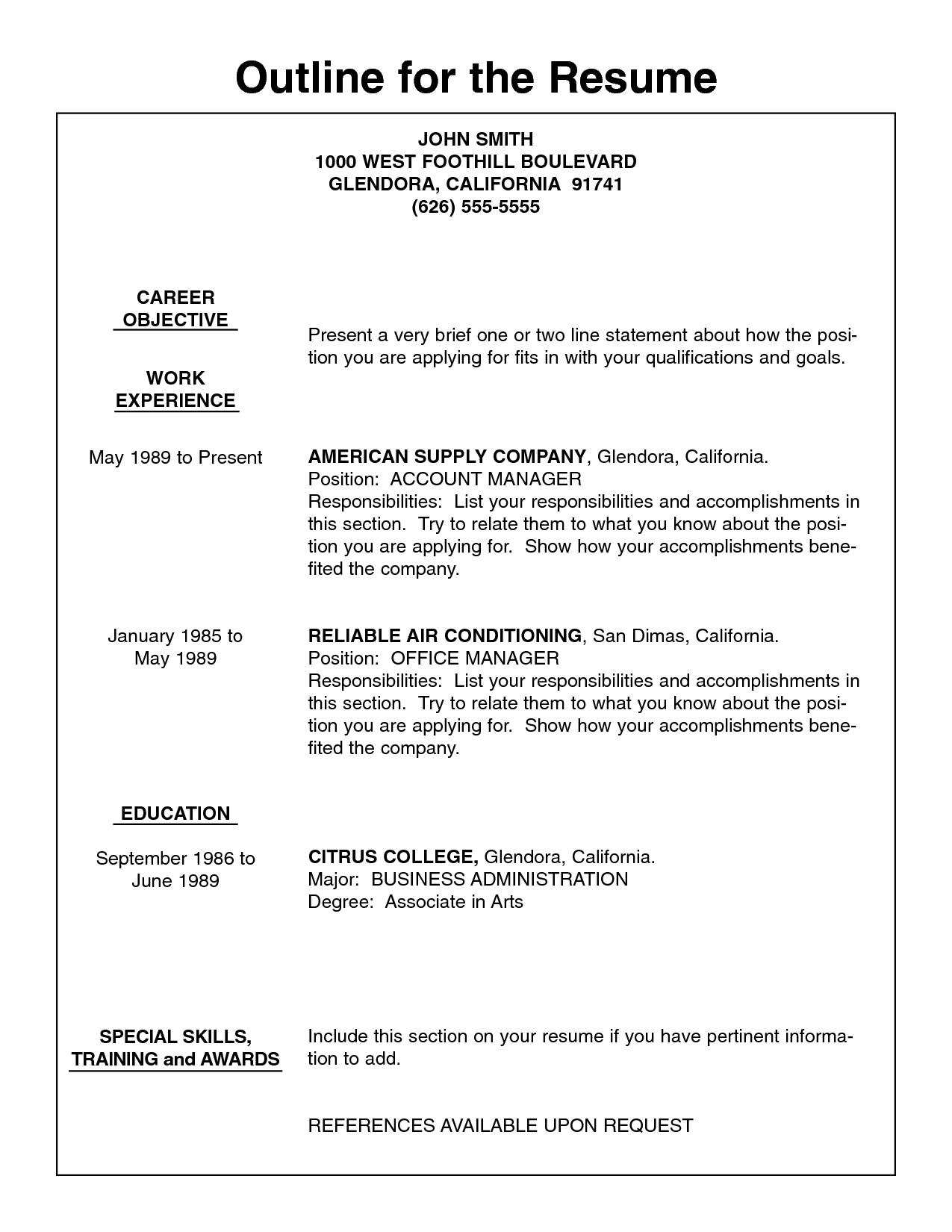 Resume Outline Example Resume Example Outline Worksheet Templates Writing Worksheets