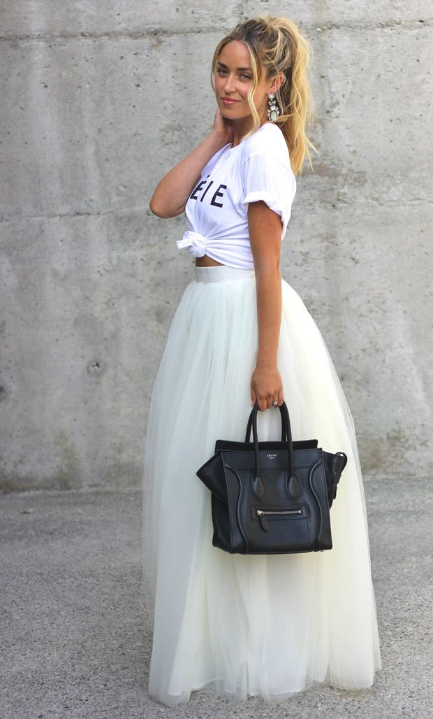 3d0eb78b Cara McLeay is wearing Celfie T-shirt from Sincerely Jules, white tulle  skirt from Beautulleful and a Celine bag