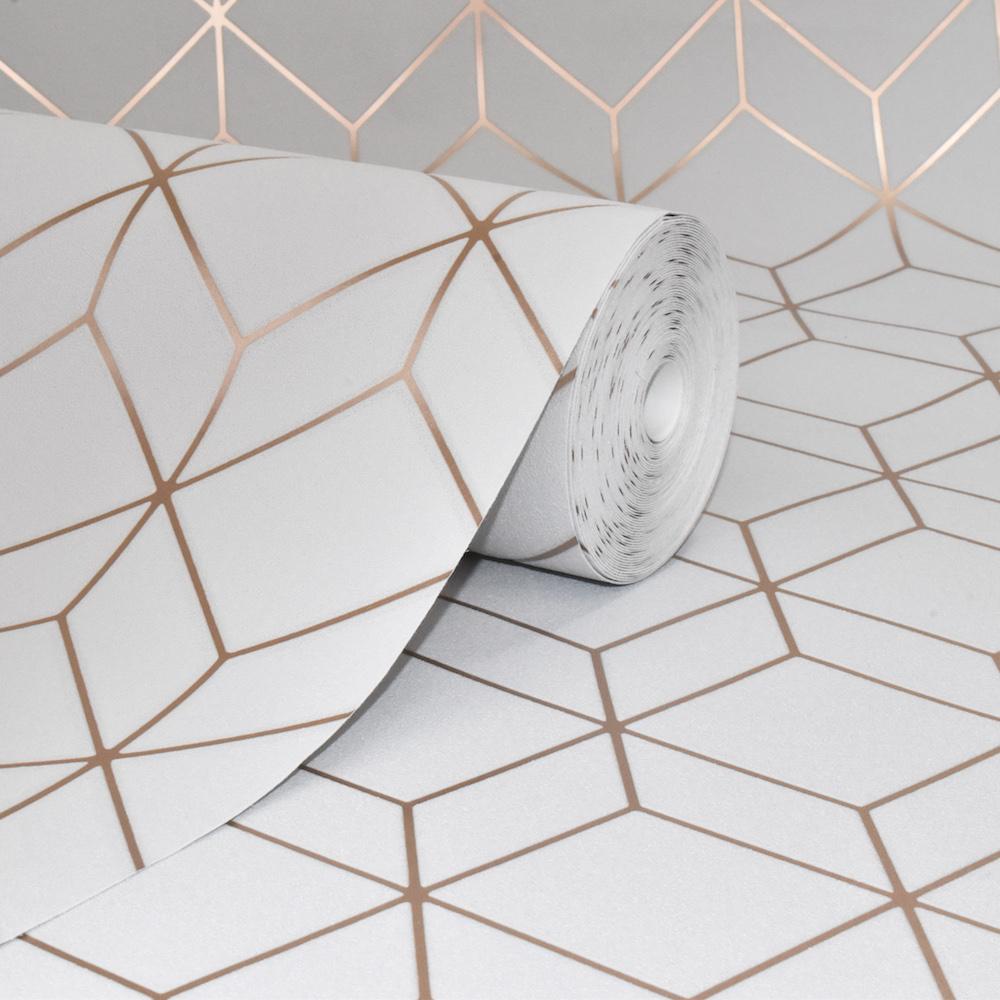 Superfresco Easy Myrtle Geo Grey Wallpaper | Grey Wallpaper