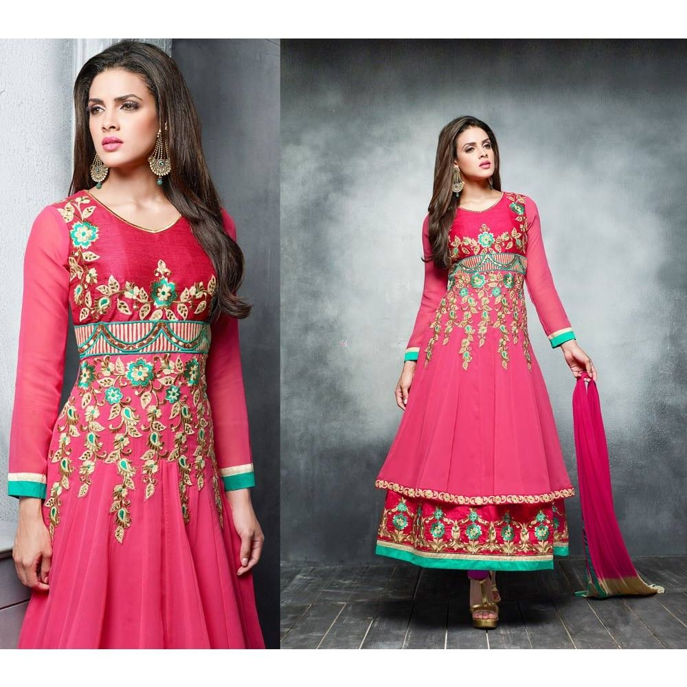 Pink Georgette Festival #Anarkali Suits With Dupatta- $40.57