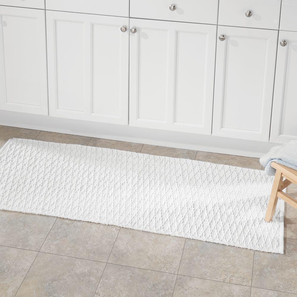 Cotton Rectangular Bath Mat With Diamond Pattern 60 Long Runner Bath Cotton Diamond Bathroom Rugs Bath Mat Bathroom Flooring [ 1000 x 1000 Pixel ]