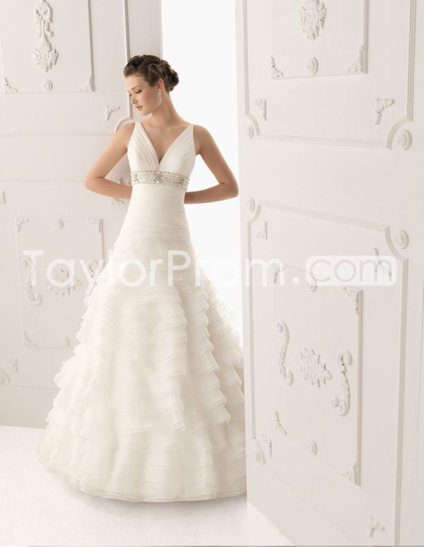 Sumptuous A-Line V-neck  Floor-length Tiered Wedding Dresses 2014 New Style