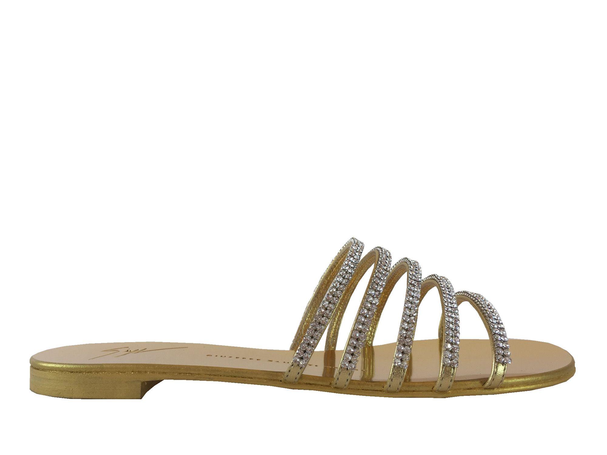 Nu-pieds Giuseppe Zanotti - Za Mule Strass en cuir or et strass argentés 062eabd79b1