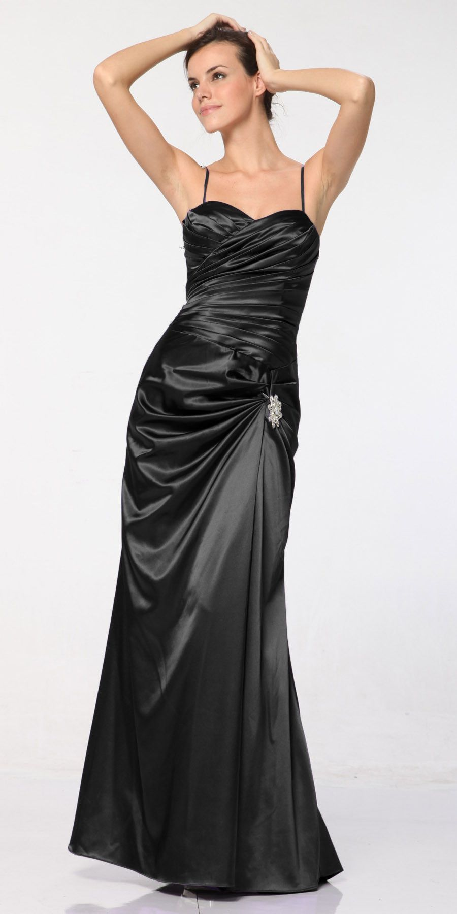 Clearance plus size black satin dress pleated bodice strapless