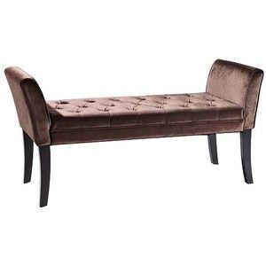 Chatham Velvet Brown Upholstered Tufted Bench