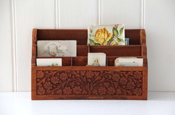 counter tabletop rack office rustic for or desk mail organizer desktop wooden dp amazon com vintage