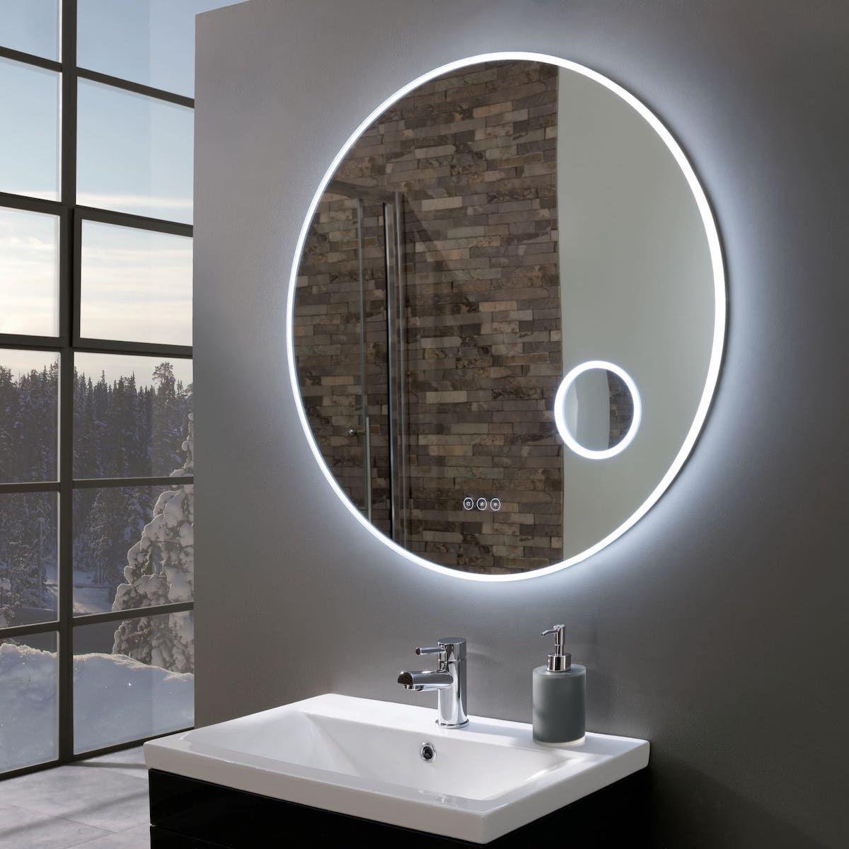 Allure Ultra Slim Round Led Illuminated Mirror With Magnifier 800mm Mirror Round Mirror Bathroom Bathroom Mirror Lights
