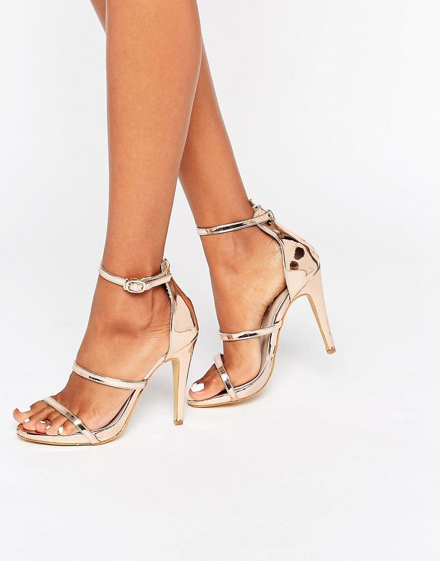 True Decadence - Sandales à talons avec semelle plateforme et brides - Or  rose at asos.com