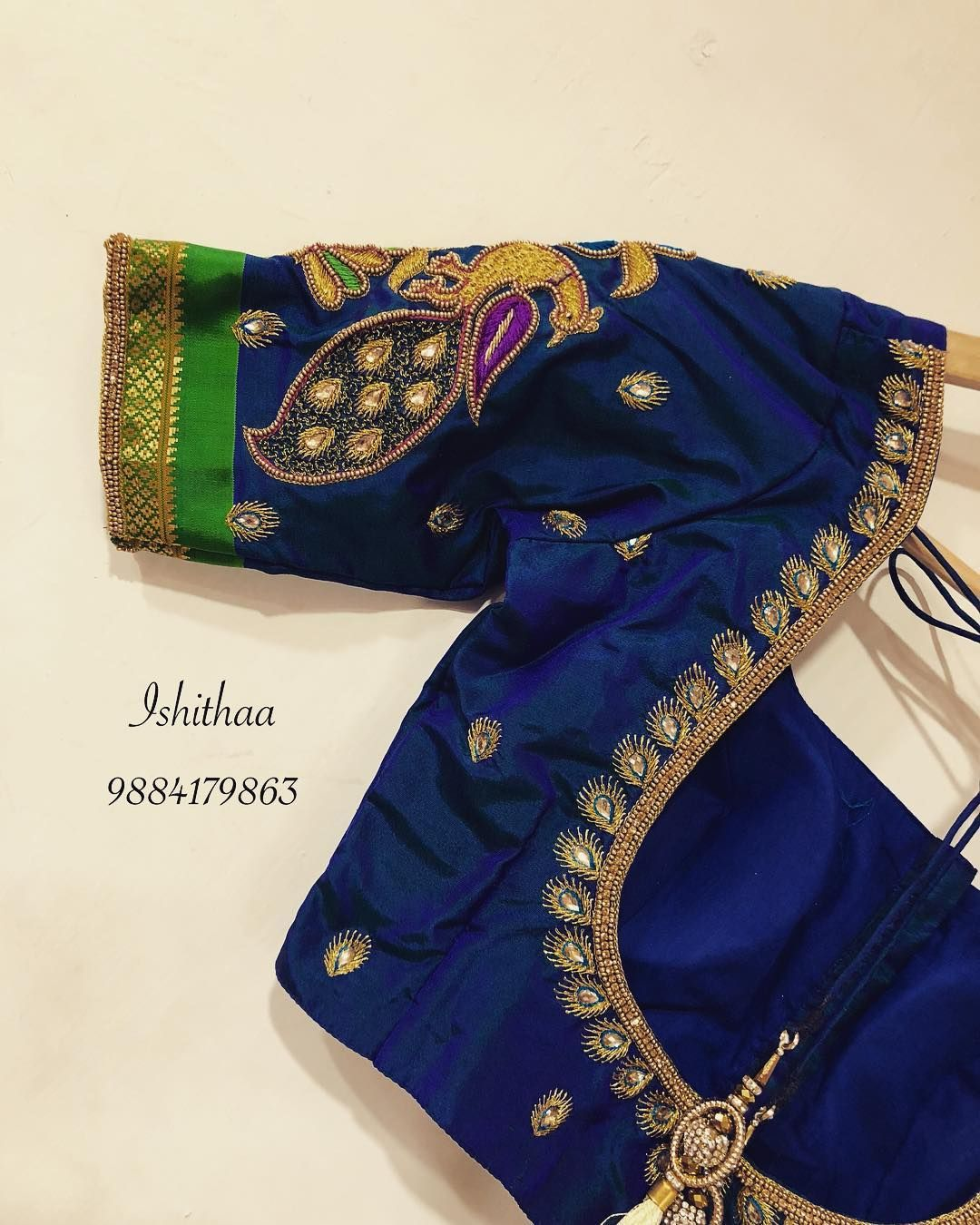 Beautiful Designer Blouse With Peacock Design Hand Embroidery Thread