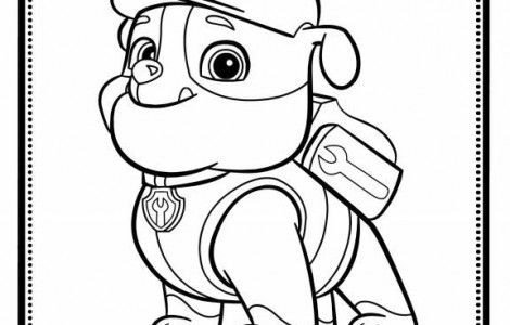It's just a picture of Priceless Rubble Paw Patrol Coloring Page