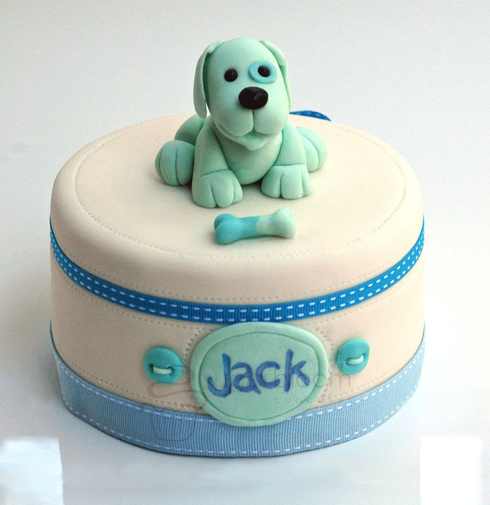Boys Baby Shower Cake: Fondant Puppy Figure Baby Boy Cake