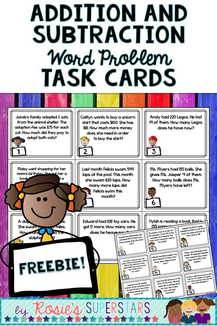 These Fun And Free 27 Addition And Subtraction Word Problem Task Cards Are A Fun Way For Stude Subtraction Word Problems Word Problems Task Cards Word Problems Step addition and subtraction word