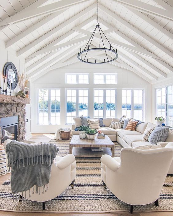 Transitional Living Room With Coastal Vibe And Blue: Beach House, Coastal Home, Transitional Living Room. Beach