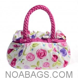 Magnificent White Handbag Floral Pink & Purple from the latest NaRaYa Collection !