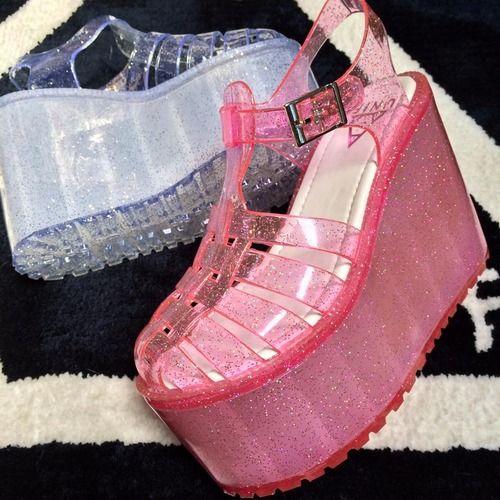 unif platform jelly shoes, glitter