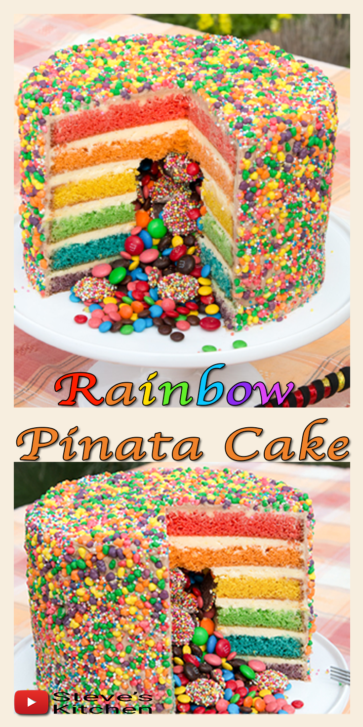 Superb Rainbow Pinata Cake Easy Cake Batter Lolly Cake Pinata Cake Cake Funny Birthday Cards Online Benoljebrpdamsfinfo