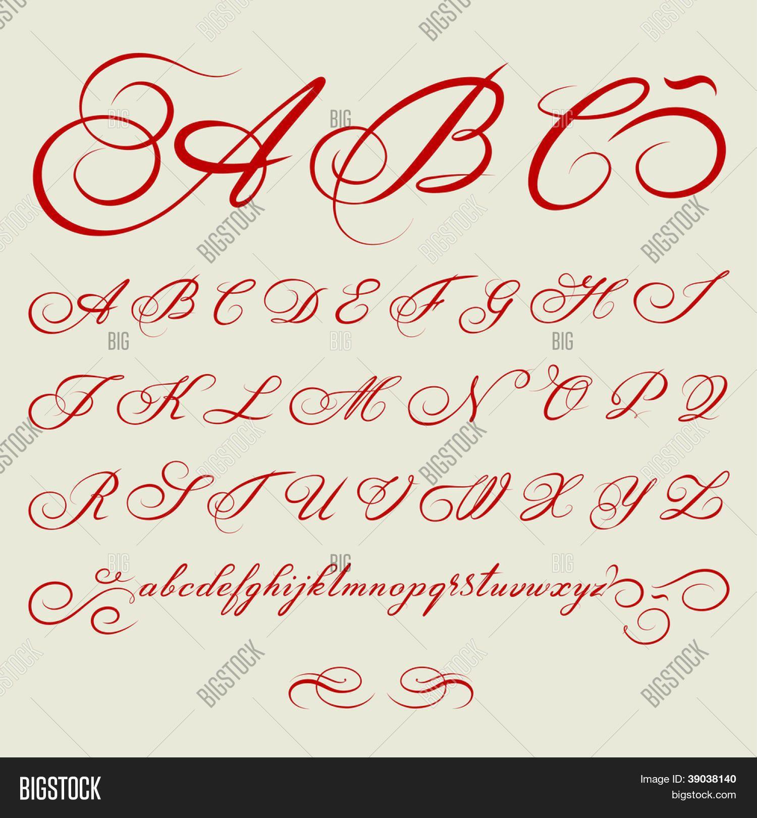 vektor handgezeichnete kalligraphische alphabet auf der grundlage von kalligraphie meister des. Black Bedroom Furniture Sets. Home Design Ideas