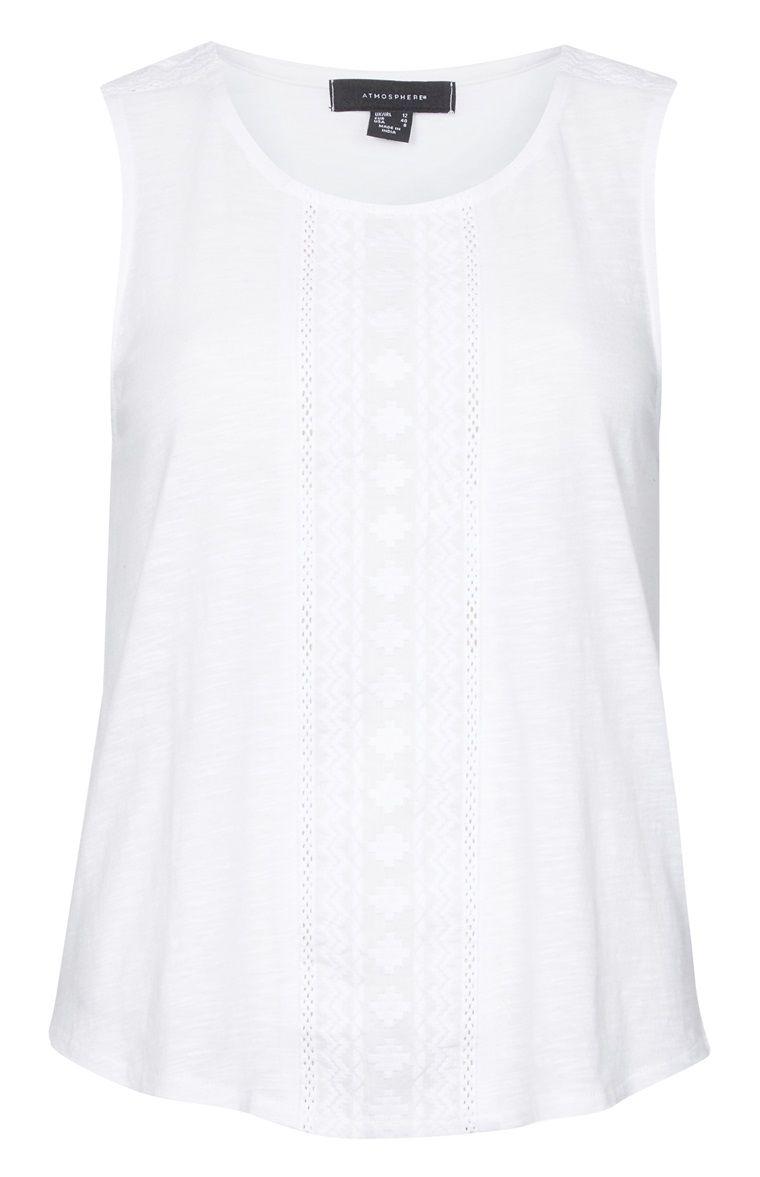 Primark - Blusa sin mangas blanca con tira bordada … … | moda | Pinte…