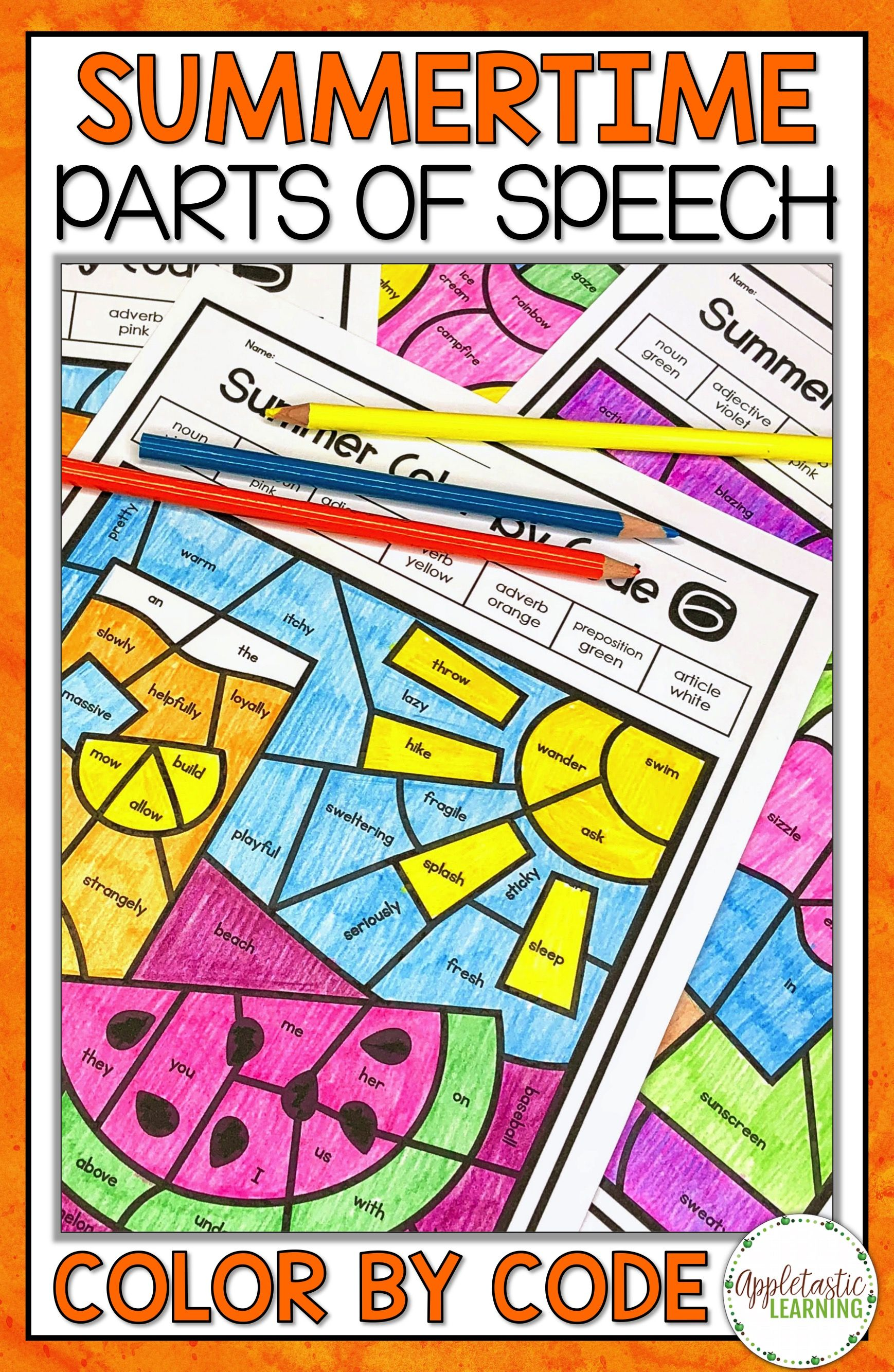 Summer Coloring Pages Parts Of Speech Color By Number