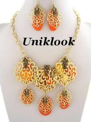 Scroll Art bold Orange Red Bead Chunky Necklace Earring Set