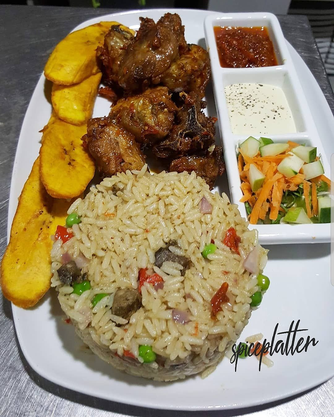 Spice Platter Abuja On Instagram Coconut Rice With Peppered Goatmeat Spiceplatter Spiceplatter Coconutrice Goatmeat Abuj Coconut Rice Food African Food