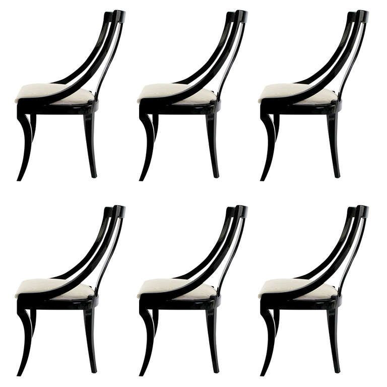 italian lacquer furniture. Six Italian Black Lacquer \u0026 Moire Dining Chairs Furniture U