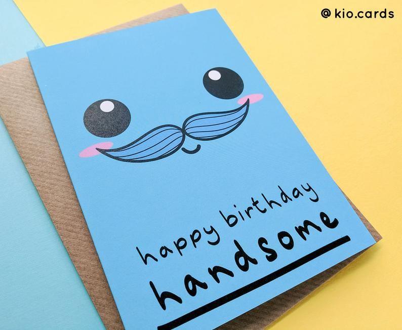 Handsome Husband, Birthday Card Husband, Kawaii Face