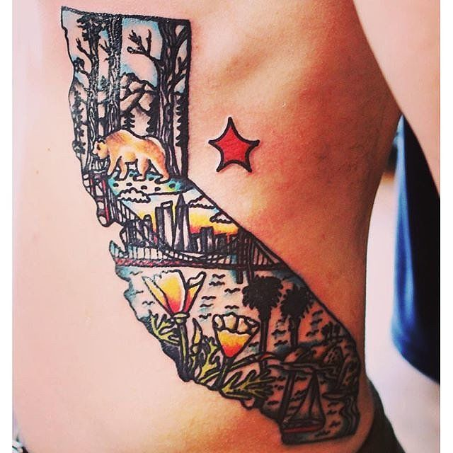 These 61 Map Tattoos Will Give You Major Wanderlust California