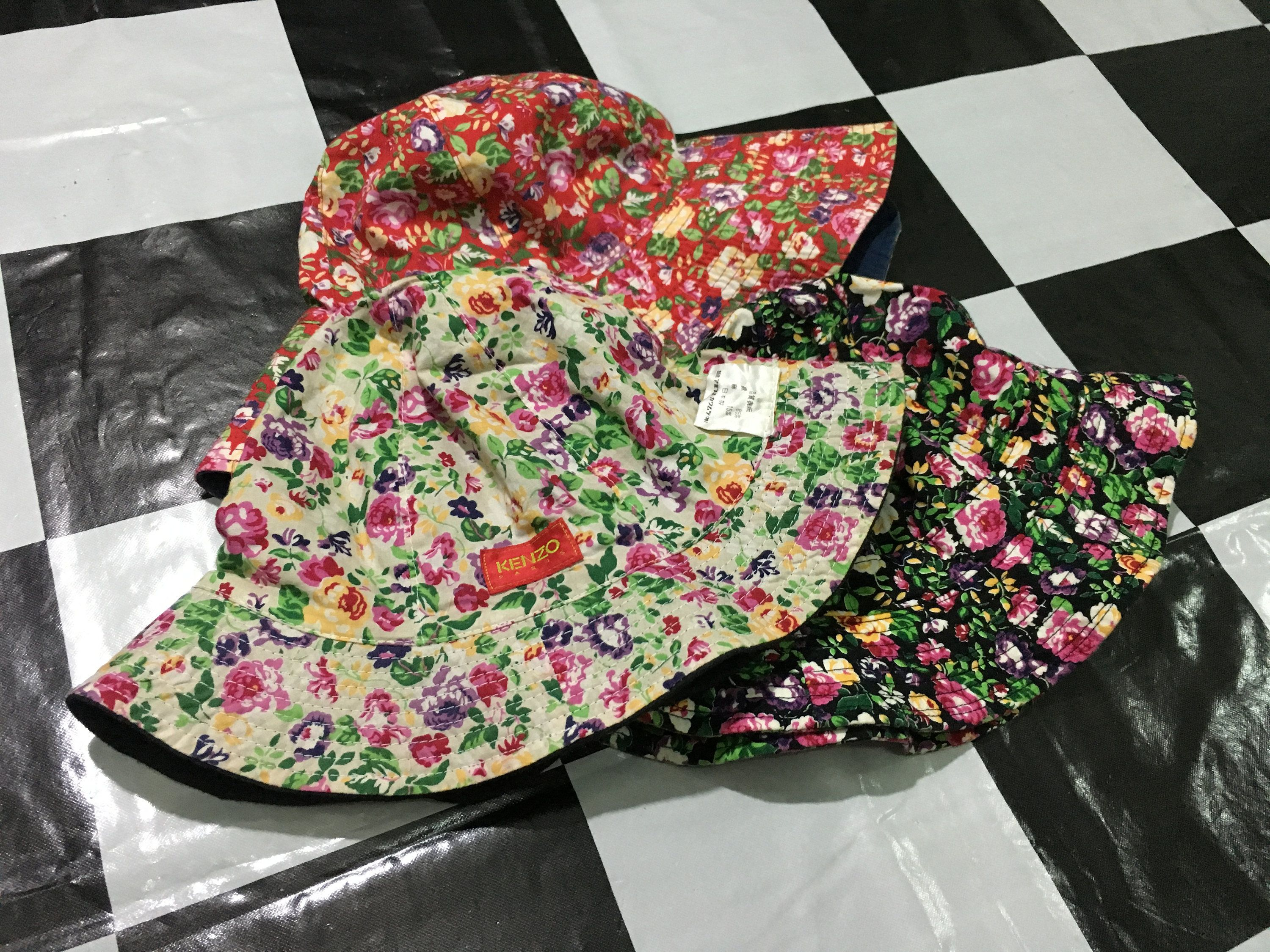64be2c9d68b7a A lots of 3 Vintage Kenzo bucket hat floral cap by AlivevintageShop on Etsy