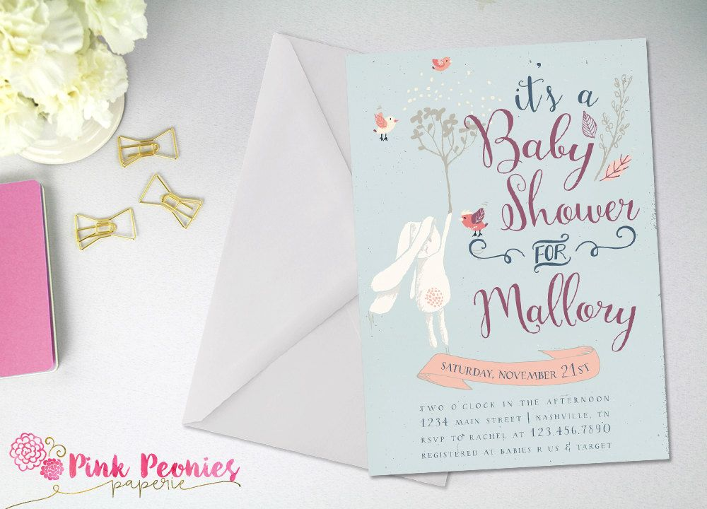 Bunny Baby Shower Invitation, Gender Neutral, Whimsical Invitation ...