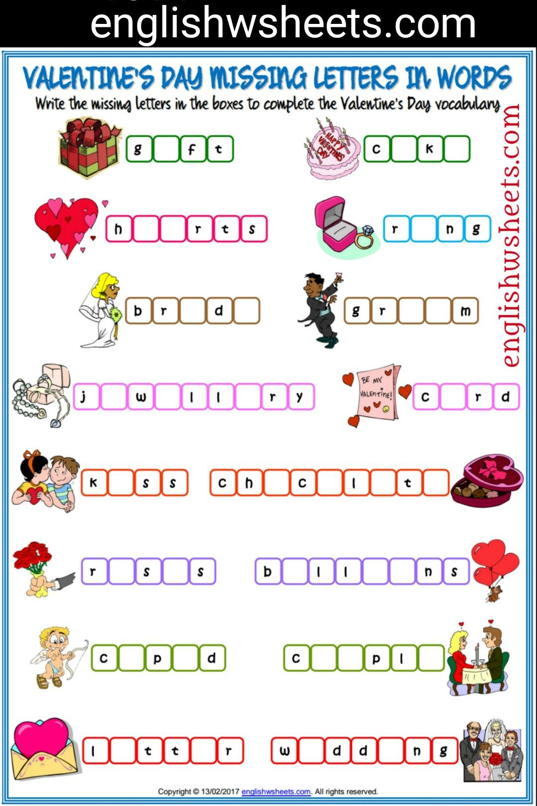 Valentine S Day Esl Printable Missing Letters In Words Worksheet For Kids Valentines Da