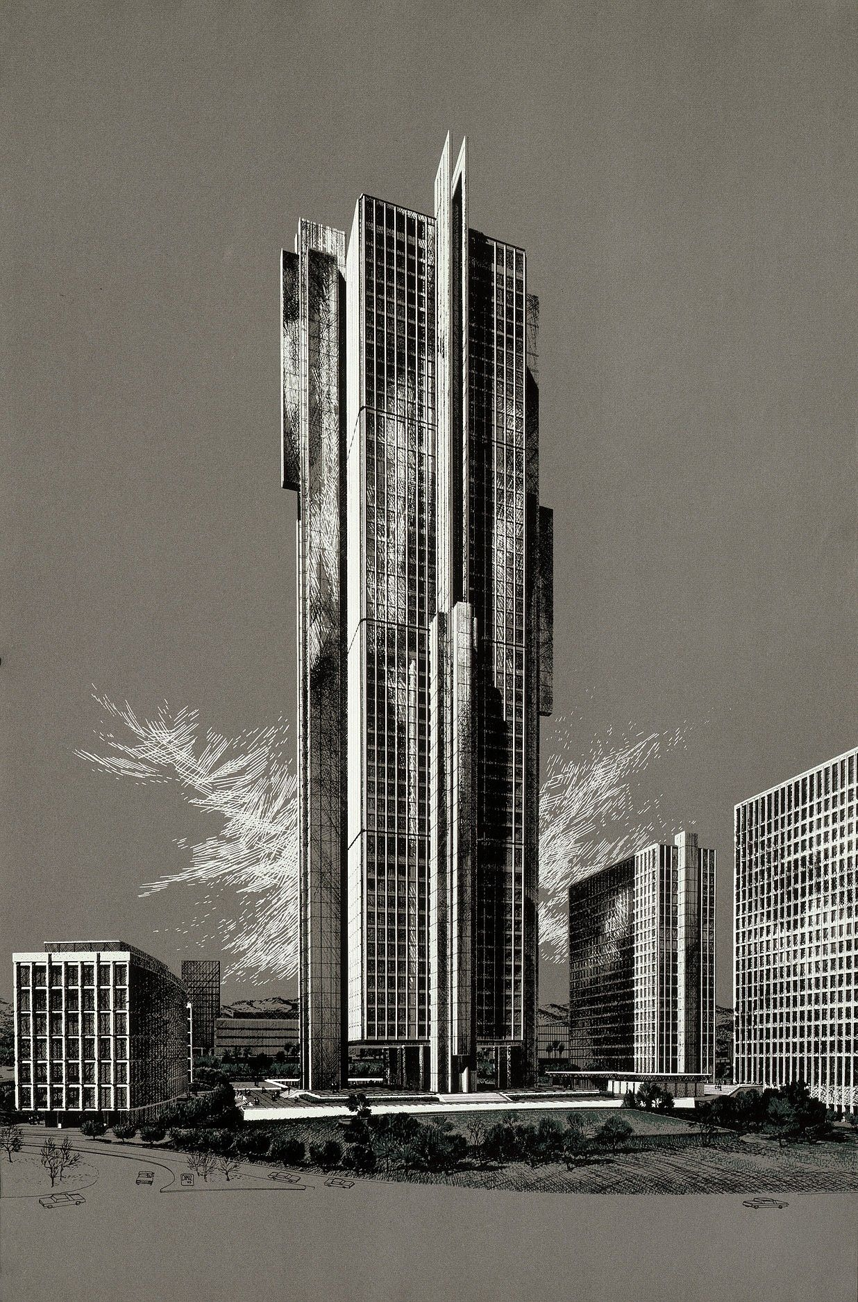 Carlos Diniz Theme Building Century City Grey 1963 Silkscreen On Paper Paper Architecture Building Painting Los Angeles Architecture