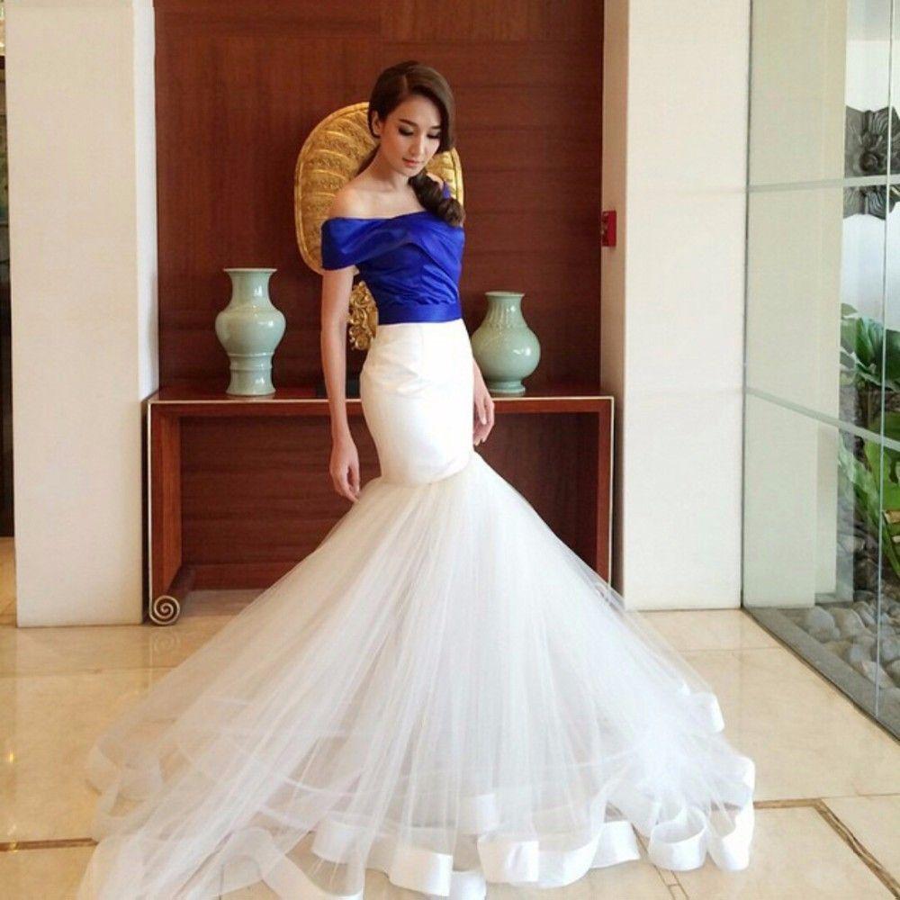 Mermaid royal bule and white skirt evening dress one shoulder long