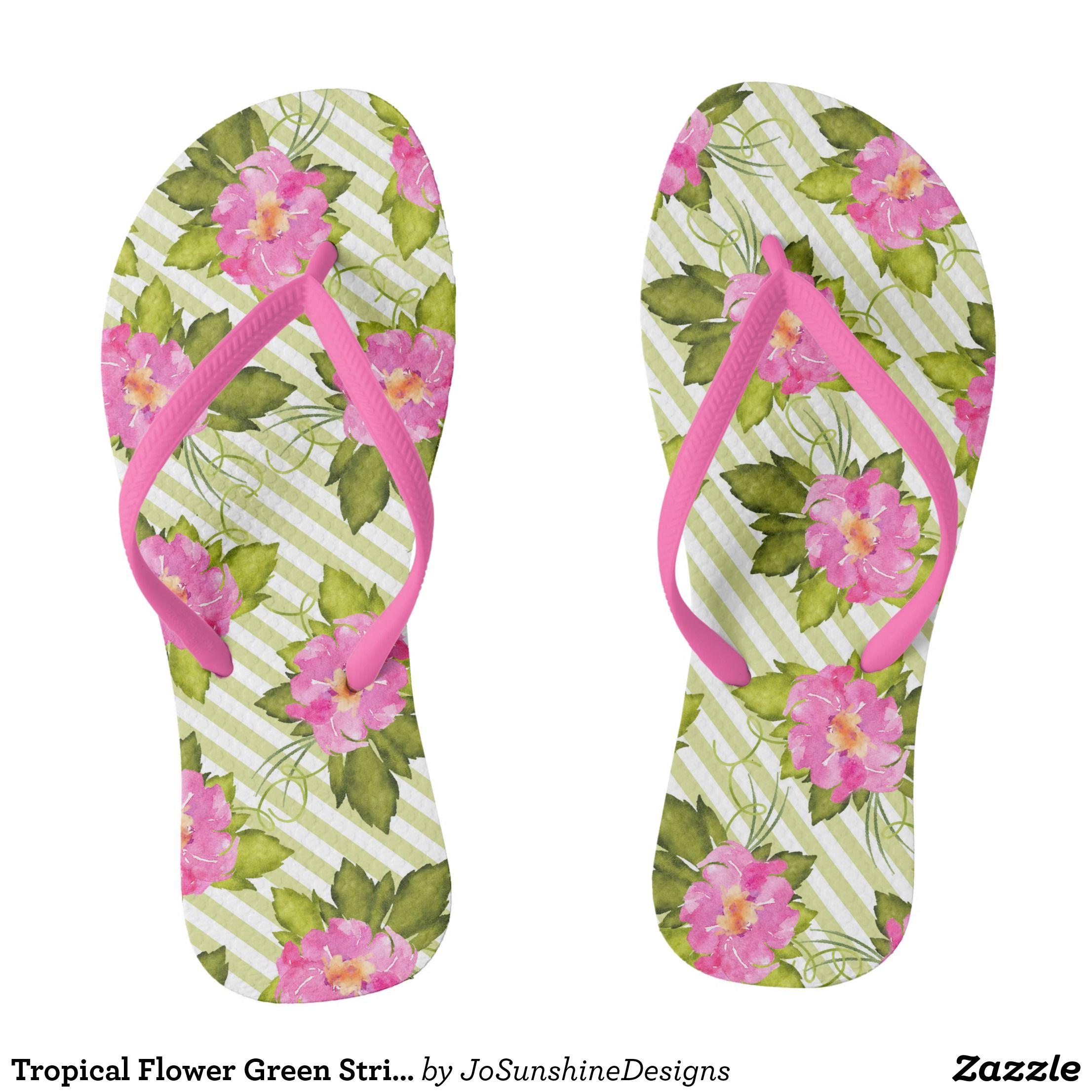 Tropical Flower Green Stripes Flip Flops Durable Style Hawaiian Beach Sandals By Talented Fashion Graphic Designers Flipflops Hawaii